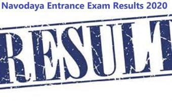 Navodaya Entrance Exam Results 2020